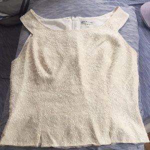 Tops - Sleeveless white semi formal top
